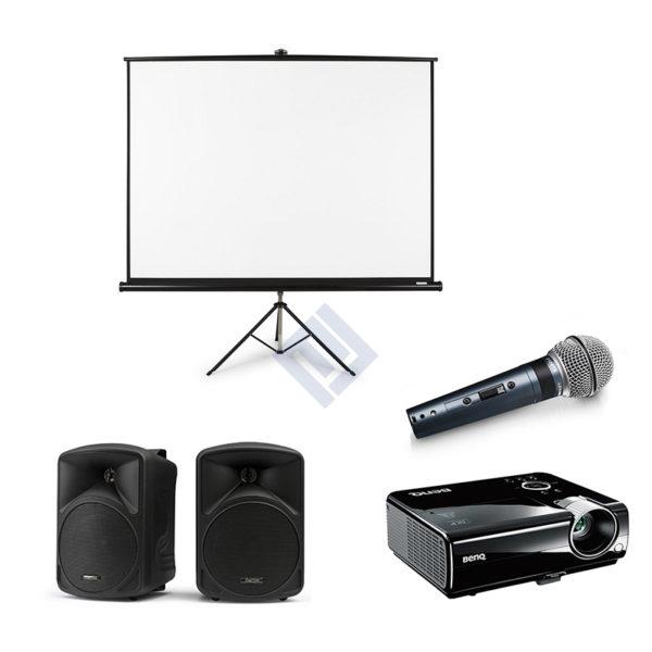 Alquiler PACK Pantalla de proyección + altavoces + micrófono + proyector