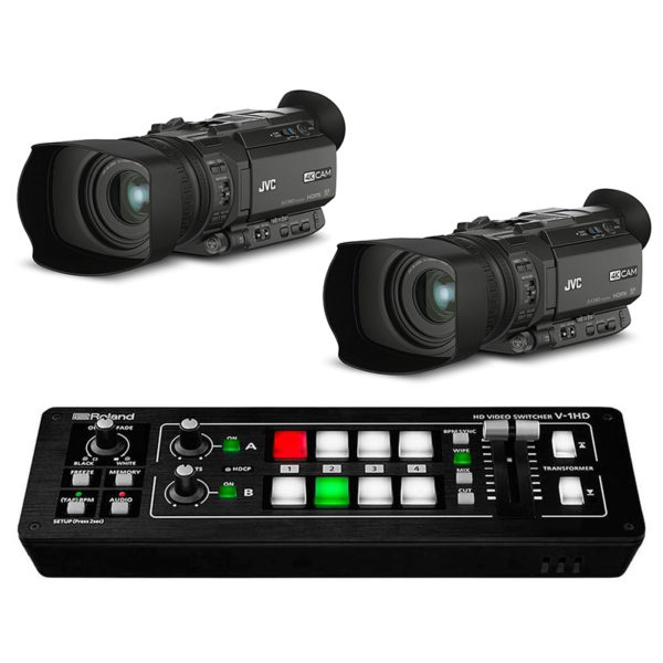 Mezclador de video Roland V 1HD + 2 Cámaras JVC GY HM170E