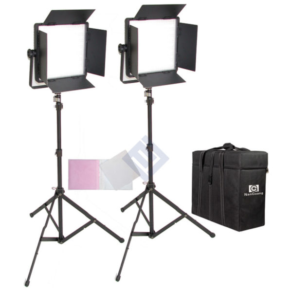 Kit 2 panel NanguangLED CN-600CSA Bi-color/ CN-600SA Luz Día con aletas